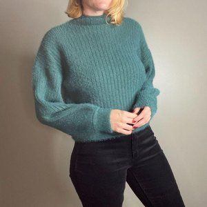 PRIMA Ribbed Cropped Mock Neck Fuzzy Sweater NWT